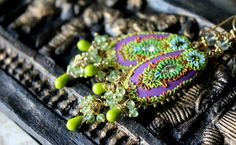 Peridot Prehnite and czech glass beads with brass by Peelirohini