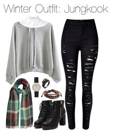 """""""Winter Outfit: Jungkook"""" by kookiechu ❤ liked on Polyvore featuring WithChic, Alice + Olivia and West Coast Jewelry"""