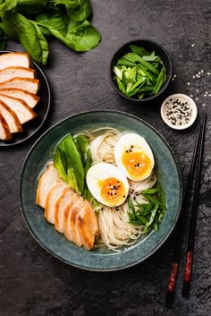 Chicken ramen soup by The baking man on Sushi, Asian Recipes, Healthy Recipes, Healthy Food, Food Photography Tips, Ramen Photography, Poke Bowl, Food Backgrounds, Aesthetic Food
