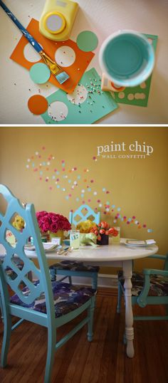 paint chip wall confetti