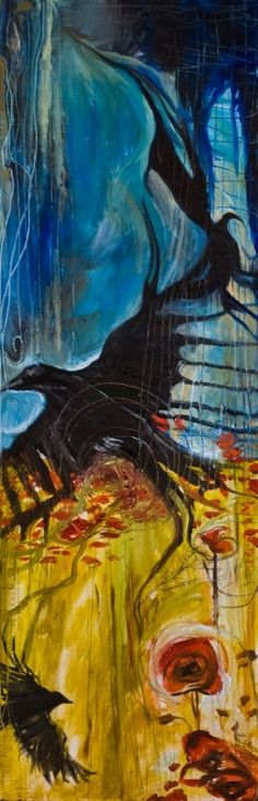 """Crows Ravens:  """"#Crows & Poppies I,"""" oil on canvas by Lindsay Wiggins."""
