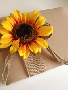 Rustic Sunflower Wedding Guest Book - Tea Dyed Muslin and Jute Ribbon with Rope Bow