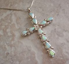 Opal Cross Necklace Sterling Silver Vintage Estate by cutterstone, $62.00