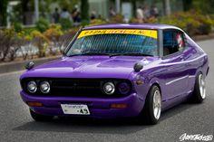 Nissan 710 Violet leaving Odaiba x Classic Japanese Cars, Japanese Sports Cars, Classic Cars, Mazda Cars, Jdm Cars, Datsun Car, Japanese Legends, Nissan Infiniti, Old School Cars