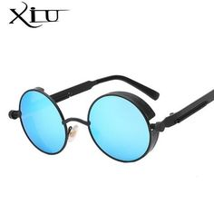 b153e904b3fdd Gothic Steampunk Mens Sunglasses Coating Mirrored Sunglasses Round Circle  Sun glasses Retro Vintage Gafas Masculino Sol