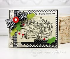 "Jeanne Jachna: A Kept Life – ""Serendipity Stamps November Release"" - 11/5/15.  (Serendipity Stamps: Christmas Tree Farm.  Memory Box Dies: Country Stitched Borders. Poppystamps dies: Holly Leaves & Berries)."