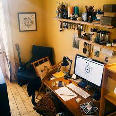 "A peek into my ""Sunshine"" studio - a place where all the magic happens  . . #studio #office #study #workspace #studiolife #illustration #artiststudio #mydesk #studioinspiration"