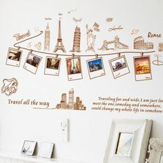 ufengke® Creative Travel Memories Picture Photo Wall Decals, World-Famous Attractions, Living Room Bedroom Removable Wall Stickers Murals Removable Wall Stickers, Wall Stickers Murals, Vinyl Wall Stickers, Decorative Stickers, Vinyl Paper, Mural Wall, Pvc Vinyl, Vinyl Room, Kids Room Wall Art