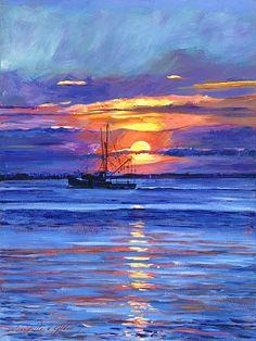 Salmon Trawler At Sunrise - David Lloyd Glover
