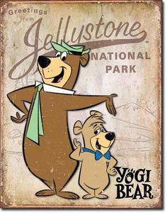 Yogi Bear - Jellystone Park Wall Signs Tin Sign - 32 x 41 cm Classic Cartoon Characters, Favorite Cartoon Character, Classic Cartoons, 80s Characters, Childhood Characters, Old School Cartoons, Old Cartoons, Retro Cartoons, Cartoon Posters
