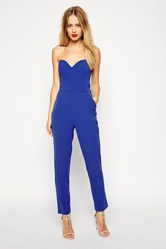 Strapless electric blue prom jumpsuit