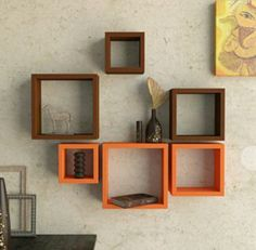Desi Karigar Wall Mount Shelves Square Shape Set of 6 Wall Shelves - Brown    Orange - Wall Shelves - Home Decor - Home   Furniture fe765b0008a9