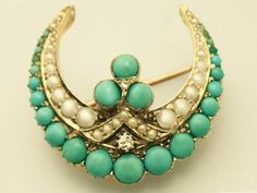 Antique Victorian  Turquoise, Pearl and 0.04 ct Diamond, 15 ct Yellow Gold Crescent Brooch (Unknown)