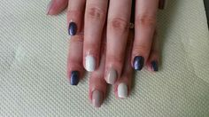 Nude white navy nails