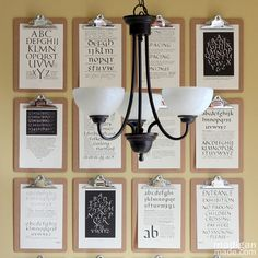 Love this creative and beautiful art display! Clipboard wall with calligraphy book pages by @madiganmade