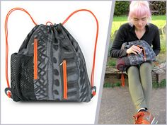 Sporty String Backpack with Vertical Zip Pockets | Sew4Home