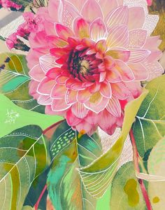 Dahlia mixed media art print by Katie Daisy