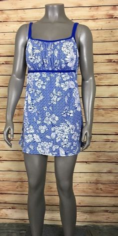 374fd8a6fa03d Catalina Swimdress One-piece Swimsuit size XL 16 18 blue white floral   Catalina