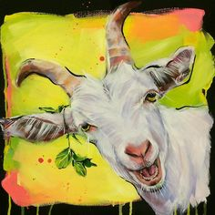 wow it's amazing Goat Paintings, Animal Paintings, Goat Art, Cute Goats, Cow Painting, Colorful Animals, Watercolor Animals, Pet Portraits, Farm Animals