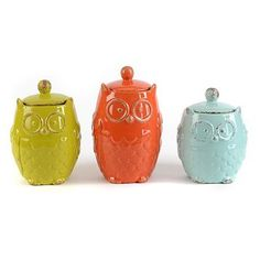 Owl Canister, Set of 3 | Kirkland's.  Living on my counter - love them.