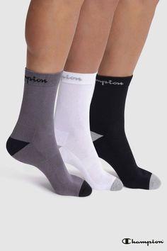 f3a3ab77201 Mens Champion Socks Three Pack - Black