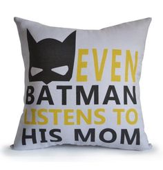 I need this for my little guy Batman Boy Room Pillow Cover Even Batman Listens To by AmoreBeaute