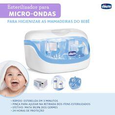 Mamães, vocês já conhecem o Esterilizador para Micro-ondas Universal da Chicco? Esteriliza até 5 Mamadeiras Fisiológicas ou 4 Mamadeiras Step Up, além de chupetas e acessórios, em 5 minutos (840W). Além de muito funcional é prático e pode acompanhar as suas viagens de final de ano. Com um design inovador que se adapta perfeitamente a todos os tipos de micro-ondas a esterilização é rápida e eficaz. Mantém as mamadeiras esterilizadas durante 24horas desde que o produto permaneça fechado.