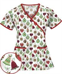 UA Jingle Bells White Print Scrub Top