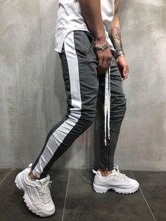Men's Side Stripe Ankle Zip Drawstring Trackpants 2018 New Autumn Fashion Hip Hop Men Contrast Jogger Sweatpant Pantalon Hombre Mens Joggers Sweatpants, Jogger Pants, Streetwear Fashion, Streetwear Brands, Men Street, Street Wear, Sport Casual, Men Casual, Sweatshirt