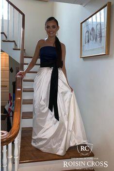 Winter White Silk Dupion with Ink Blue and Black Silk Velvet Debs Dress Silk Organza, Silk Crepe, Silk Chiffon, Silk Satin, White Silk, Black Silk, Deb Dresses, Strapless Dress Formal, Formal Dresses