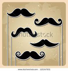 set of hipster mustache. bitmap version - stock photo