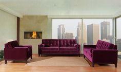 Armen Living Centennial Loveseat Purple Velve