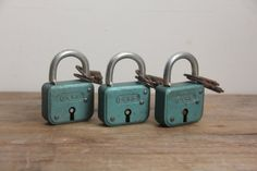 Vintage Rusty Green Lock with Skeleton Key
