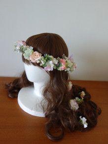 アイボリー~ピンクのナチュラル花冠&ヘアパーツ☆ |Ordermade Wedding Flower Item MY FLOWER ♪ まゆこのブログ