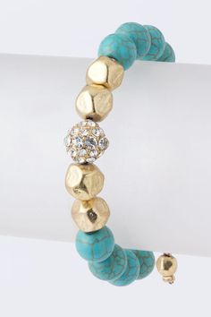 Faux Stone bead bracelet by GlamBoutique20 on Etsy $19.99