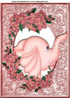 PINK ELEPHANT IN FRAME OF FLOWERS A4 on Craftsuprint - Add To Basket!