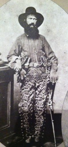I would love to have a framed print of this photo in my office! Captain Samuel J. Richardson, commander of Company F, Texas Cavalry Mounted Rifles) wearing leopard skin pants during the American Civil War. Texas History, Us History, American Civil War, American History, Confederate States Of America, Civil War Photos, Le Far West, Mountain Man, Interesting History