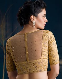 Beautiful Blouse Neck Designs Images Source by designs Indian Blouse Designs, Blouse Designs High Neck, Netted Blouse Designs, Simple Blouse Designs, Stylish Blouse Design, Bridal Blouse Designs, Latest Saree Blouse Designs, Golden Blouse Designs, Cotton Saree Blouse Designs