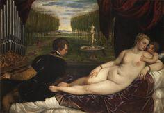 TIZIANO, Venus recreándose con el amor y la música, 1555. Tipo: Venus echada