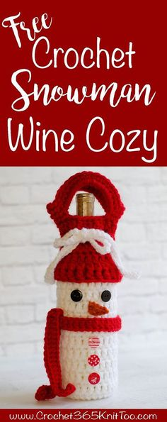 This Crochet Snowman Wine Cozy Pattern is adorable! And so easy!!