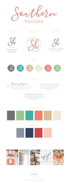 Southern Hostess Visual Branding Design by AllieMarie Design