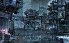 Cyberpunk slums of the future