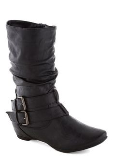 BYO Banjo Boot in Black - Mid, Faux Leather, Black, Buckles, Good, Solid, Fall
