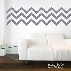 Long Chevron Wall Decals Peel and Stick...could just do paint on part of the wall since furniture covers up the bottom!