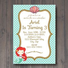 Under the sea with Ariel Birthday invitation