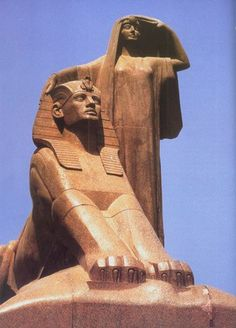 Egypt's Renaissance, 1919-28 by Egyptian sculptor en:Mahmoud Mokhtar (1891-1934); Cairo University, Cairo, Egypt
