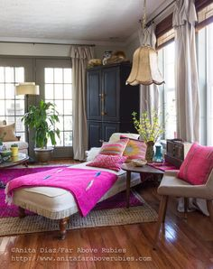 Far Above Rubies: Bohemian Chic Spring Home tour- stunning sitting area with chaise.  love the pops of pink