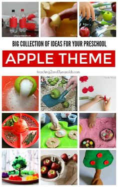 Looking for ideas for your preschool apple theme? This big collection includes art, science, math, literacy, sensory …. and so much more! From Teaching 2 and 3 Year Olds