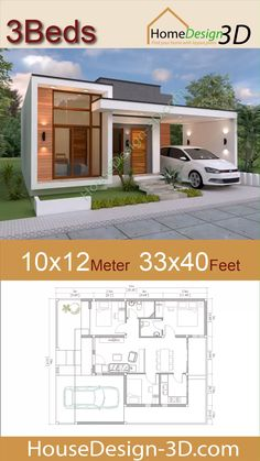 House design meter Feet 3 Beds House design meter Feet 3 Beds The House has: -Car Parking and garden -Living room, -Dining room -Kitchen Bedrooms, 2 bathroom -washing room House Design 3d, Modern Bungalow House Design, Small Modern House Plans, Beautiful House Plans, Kerala House Design, Simple House Design, House Design Plans, Single Floor House Design, Minimalist House Design