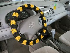 Crochet Steering Wheel Cover-black/gold